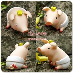 cute piglet porcelana fria polymer clay