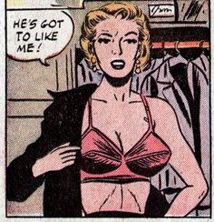 """Comic Girls Say.. 'He's got to like me !"""" #comic #vintage #popart"""