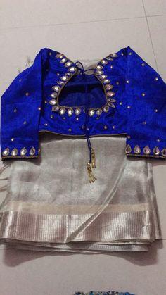 Slivr blue Wedding Saree Blouse Designs, Pattu Saree Blouse Designs, Blouse Designs Silk, Kerala Saree Blouse, Saree Dress, Blouse Patterns, Simple Blouse Designs, Stylish Blouse Design, Blue Blouse