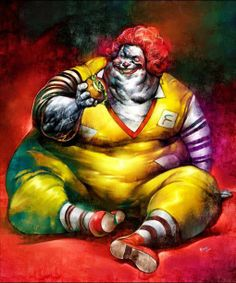 Fast food is full of chemicals and perservatives, and is addictive. Haven't you ever craved for an In 'N' Out burger or some McDonald's fries? Mcdonalds, Creepy Clown, Creepy Stuff, Creepy Faces, Creepy Things, Funny Things, Funny Stuff, Evil Clowns, Arte Horror
