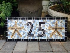 Beach House House Number Plaque Mosaic by GreenStreetMosaics