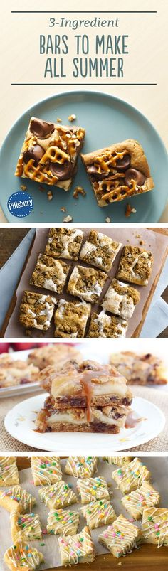 Short on time, but looking for a killer treat? These three-ingredient bars come together in no time, and they're the perfect recipes for last-minute parties or rainy day baking. (cookie in a cup bake sale) Baking Recipes, Cookie Recipes, Dessert Recipes, Bar Recipes, Group Recipes, Pastry Recipes, Brownie Recipes, Dessert Ideas, Easy Desserts