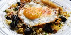 Danny Kingston combines nutty, mature Le Gruyère AOP 'Reserve'  with crispy croutons in this beautiful duck egg and black pudding recipe, id...