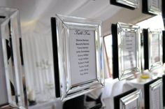 mirror seating plan - individual frames mounted on a larger mirror.