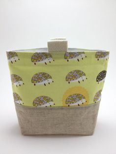 reusable snack bag - hedgehogs in yellow- SO CUTE!!!