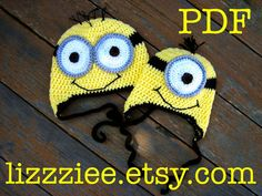 Minion hat crochet pattern - despicable me - Easy - instructions for beanie, earflap, braids in 6 sizes - Instant Digital Download