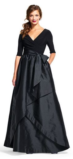Adrianna Papell | Three Quarter Sleeve Wrap Dress with Taffeta Ball Skirt