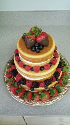 3 tiered naked cake Pancakes, Naked, Goodies, Breakfast, Food, Sweet Like Candy, Morning Coffee, Treats, Meal