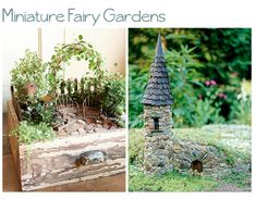 DIY fairy miniature gardens ~ Create An Indoor Faerie Garden ~    This adorable craft can be done with all recycled materials! First, find an old and unloved side table. Then use salvaged wood (wood from an old pallet will work nicely), and build a box on top of the table. Screw the wood right onto the table for safety and stability. Then proceed to fill your box and create an amazing faerie garden!