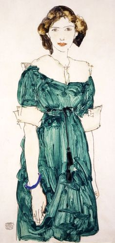 "kundst: "" nobrashfestivity: "" Egon Schiele "" Egon Schiele (At, 1890-1918) Girl in green dress (1913) Gouache and pencil on paper 48.1 x 32.1 cm """