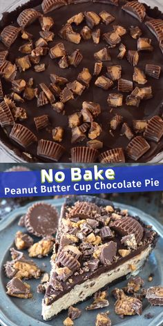 The BEST no bake peanut butter cup chocolate pie! Oreo crust, creamy peanut butter filling, chocolate ganache all LOADED with peanut butter cups! # no bake Desserts No Bake Peanut Butter Cup Chocolate Pie Desserts Keto, Quick Dessert Recipes, Easy Pie Recipes, No Bake Desserts, Easy Desserts, Sweet Recipes, Cookie Recipes, Easy Delicious Desserts, Famous Desserts