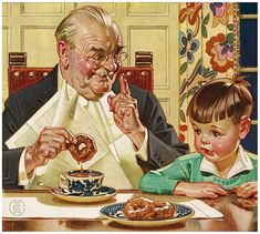 A boy and his Gramps. An unusual subject by J. Leyendecker who was known mostly for his men's clothing advertisement illustrations and magazine covers. An extremely talented artist,. Vintage Advertisements, Vintage Ads, Vintage Images, Jc Leyendecker, Norman Rockwell Art, Saint Esprit, Vintage Coffee, Belle Photo, Poster Size Prints