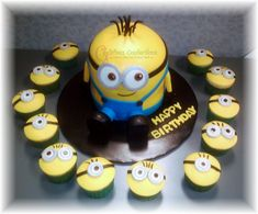 Minion Cake and cupcakes - Thank you CC for the inspiration!