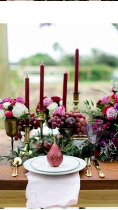 wedding centerpieces using candles and fruit