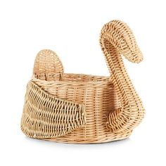Natural and Gold Swan Basket | Crate and Barrel