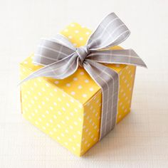 Sunshine Yellow Polka Dot PRINTABLE DIY Gift Box, Printable Box, 2x2, Baby Shower Treat Box, Favor Box, Wedding Favor Box 42 colors. $2.50, via Etsy.