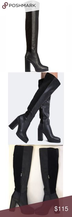 Sam Edelman Howell Over The Knee Leather Boots Black Kalibu Leather / Cow Suede / Embossed Lizard pattern The Howell Over the Knee Thigh High Boot is sleek and daring. The upper is crafted from a perfect combination of various types of leather, matched together flawlessly to bring you this gorgeous tall boot. A chunky high heel and rounded toe pull it all together wonderfully. Day or night, it'll look just right at any of your casual events. Stepping style in a mashup of leather and suede…