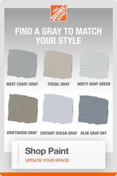 Home Depot Paint Colors, Farmhouse Paint Colors, Exterior Paint Colors, Room Colors, House Colors, Shade Finder, Paint Color Schemes, Gray Paint, Kitchen Redo