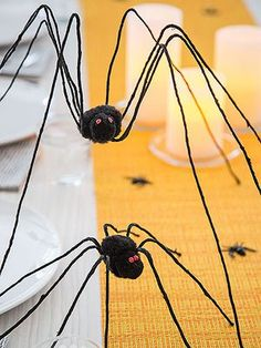 Pin for Later: 60+ of the Most Spooktacular Halloween DIYs Mighty Spiders These leggy arachnids will march all the day down your dining table.  Source: Parents