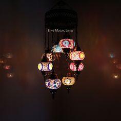 Handmade Turkish Moroccan Style Mosaic Hanging Lamp Ceiling Light 8 Small Globe