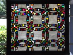 Stained Glass Panel. Title: Mother's Quilt by MomCaveStainedGlass on Etsy https://www.etsy.com/listing/201924588/stained-glass-panel-title-mothers-quilt
