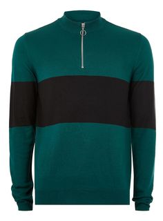 Teal and Black Zip Sweater