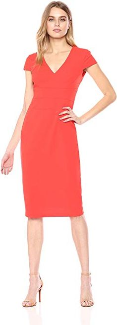 516876bb Donna Morgan (wear size 2) Women's Cap Sleeve Stretch Crepe Sheath Dress,  Black