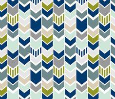Navy Gray Green Chevron fabric by mrshervi on Spoonflower - custom fabric