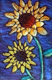 Van Gogh inspired sunflowers created by using glue and soft pastels.