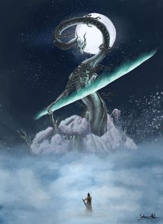 Divine Dragon by Mateusz Horbowiec High Fantasy, Fantasy Rpg, Soul Saga, Bloodborne Art, Dark Souls Art, Samurai Artwork, Japanese Drawings, Dark Drawings, Cool Monsters