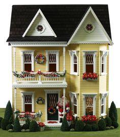 A splendidly pretty Princess Anne dollhouse decked out for the holidays. #dollhouse #toys #Christmas