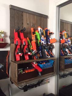 Nerf Gun Rack. Wall mounted, made from reclaimed barn wood.