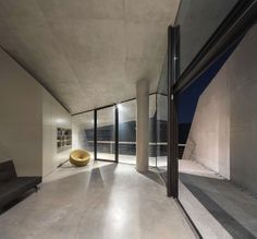 Concrete house that staggers down a hillside in rural Greece by Tense Architecture Network with photography by Filippo Poli. Architecture Board, Contemporary Architecture, Interior Architecture, Thing 1, Corporate Interiors, Inside Home, Minimal Home, Zaha Hadid Architects, Beautiful Space