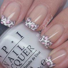 Pink white silver nails. Edgy nails. Animal print. Cheetah leopard print. Cute nails. Easy nails. Simple nails. Love these! Bold nails. Elegant nails. Good for work. Cheetah leopard print tips. Love these!