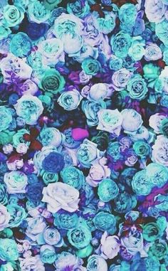 Blue, purple, and teal roses