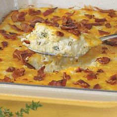 "Mrs. Riley says that this recipe may be halved and baked in a 13"" x 9"" baking dish at 350° for 40 minutes or until bubbly. She also recommends fresh herbs (when in season) instead of dried. To avoid extra chopping, she sometimes steeps sprigs of fresh herbs in the milk as it comes to a boil (this takes about 10 minutes). She then removes the herbs from the hot milk, adds the grits, butter, and salt, and cooks the grits as directed before assembling the casserole."