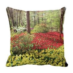 """Red tulips surrounded by yellow tulips"" pillows, with digitally rendered ""watercolor"" image from photograph shot during a spring visit to Garvan Woodland Gardens in Hot Springs, Arkansas. (http://www.zazzle.com/red_tulips_surrounded_by_yellow_tulips-189316543179207877?CMPN=addthis&lang=en&rf=238581717104918999) (https://www.facebook.com/hawcreek)"