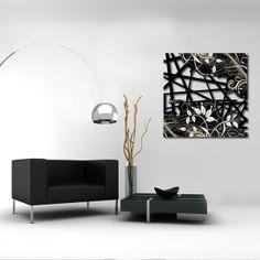 Quadri Astratti | nero laccato foglia argento   SI-109-B | 180x58 cm   SI-109 | 180x48 cm