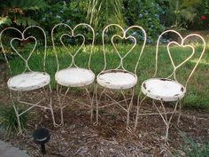4 Vintage Ice Cream Parlor Chairs - Wrought Iron...I have some of these and I love them.