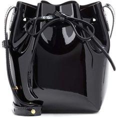 Mansur Gavriel Mini Mini Patent Leather Bucket Bag ($370) ❤ liked on Polyvore featuring bags, handbags, shoulder bags, black, mini handbags, mini shoulder bag, patent purse, miniature purse and patent handbags