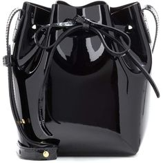 Mansur Gavriel Mini Mini Patent Leather Bucket Bag ($370) ❤ liked on Polyvore featuring bags, handbags, shoulder bags, black, mini handbags, mini shoulder bag, patent purse, miniature purse and patent handbags