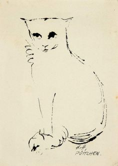 Hannah Höch (German, 1889 - 1978)  Püttchen (Cat), N/D   Pen and ink on cardboard, 147 x 105 mm