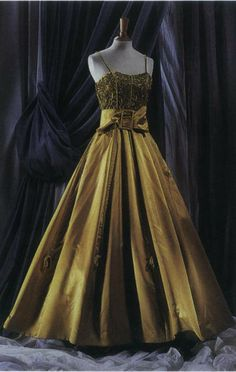 L Rison ECLAT Evening Dress Available in this Golden(Chartreuse) Silk Satin, embroidered bodice of gold thread and pastes. Or your choice of fabric selections.