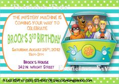 Scooby Doo Birthday Invitation Chalkboard Chevron by VPrintables