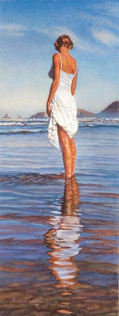 """""""Lady in Wading"""" by Steve Hanks. Another of my favourite artists. Can you believe this is a drawing? Wow."""