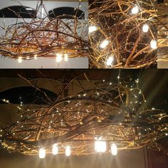 Just finished this unnamed branchelier for Leslie! I'm so in  Leaving Sat for Riviera Playa Mexico. Can't wait!  My shop will be closed until we get back on the 4th.  #custom #rustic #chandelier #hanging #vintage dimmer #style #Leds #nature #natural #grapevine #lighting #branches Hung with #twisted #cloth #covered wire 300 #fairy #light #diningroom #table #handmade #modernrustic #home #decor #designed by Danna at http://ift.tt/1PEB0Er