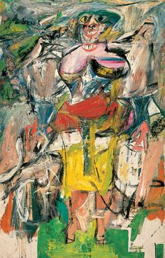 Willem de Kooning - Woman and Bicycle, oil on canvas,194.3 × 124.5 cm, 1952–5