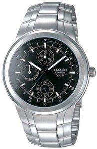 Casio Men's Edifice EF305D-1AV Silver Resin Quartz Watch with Black Dial