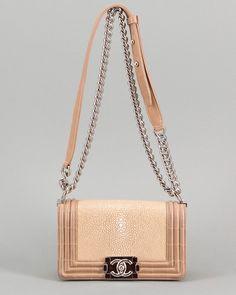Chanel Beige Stingray Small Boy Crossbody Flap Bag  Bags #CrossbodyBags