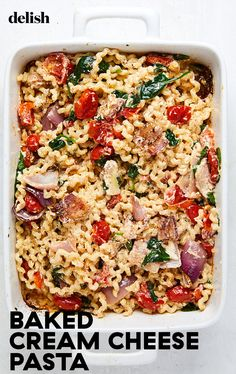The famous Baked Feta Pasta is honestly perfect as-is, but we couldn't resist the urge to swap in cream cheese and add bacon! Feta Pasta, Bacon Pasta, Cream Cheese Pasta, Pasta Recipes Using Cream Cheese, How To Cook Pasta, Pasta Dishes, Delish, Meals, Dinners